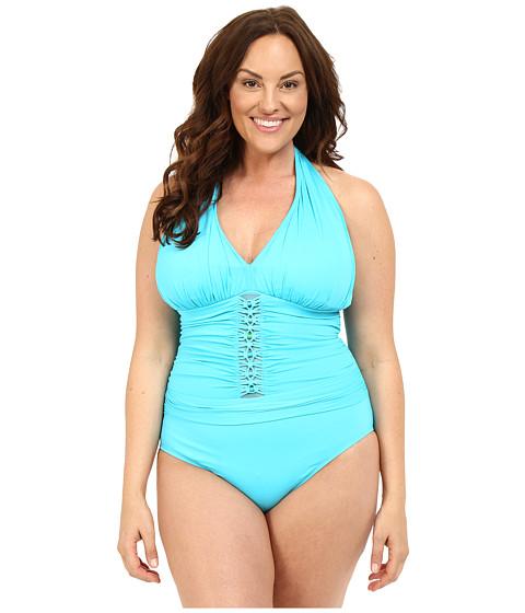 Bleu Rod Beattie - Plus Size Jet Set Go Plunge Halter One-Piece (Island Blue) Women's Swimwear