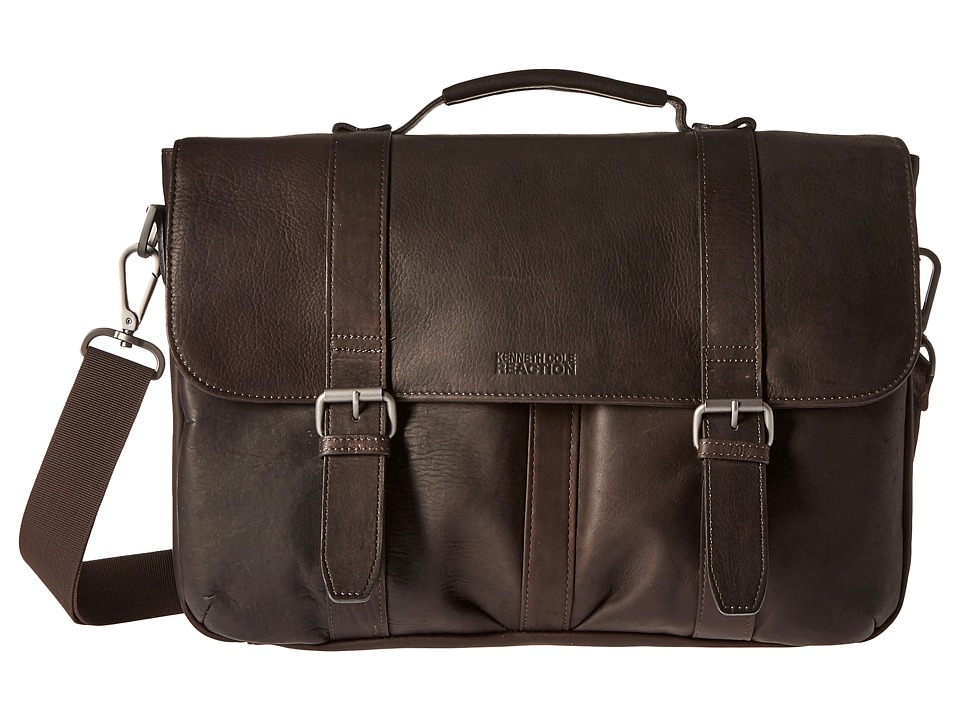 Kenneth Cole Reaction - Flap Shot - Leather Portfolio (Brown) Computer Bags
