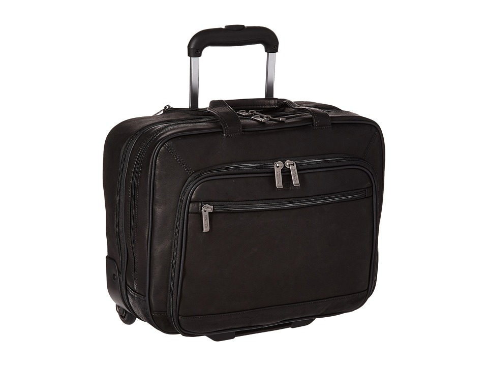 Kenneth Cole Reaction - Wheel Be Okay - Wheeled Leather Porfolio (Black) Computer Bags