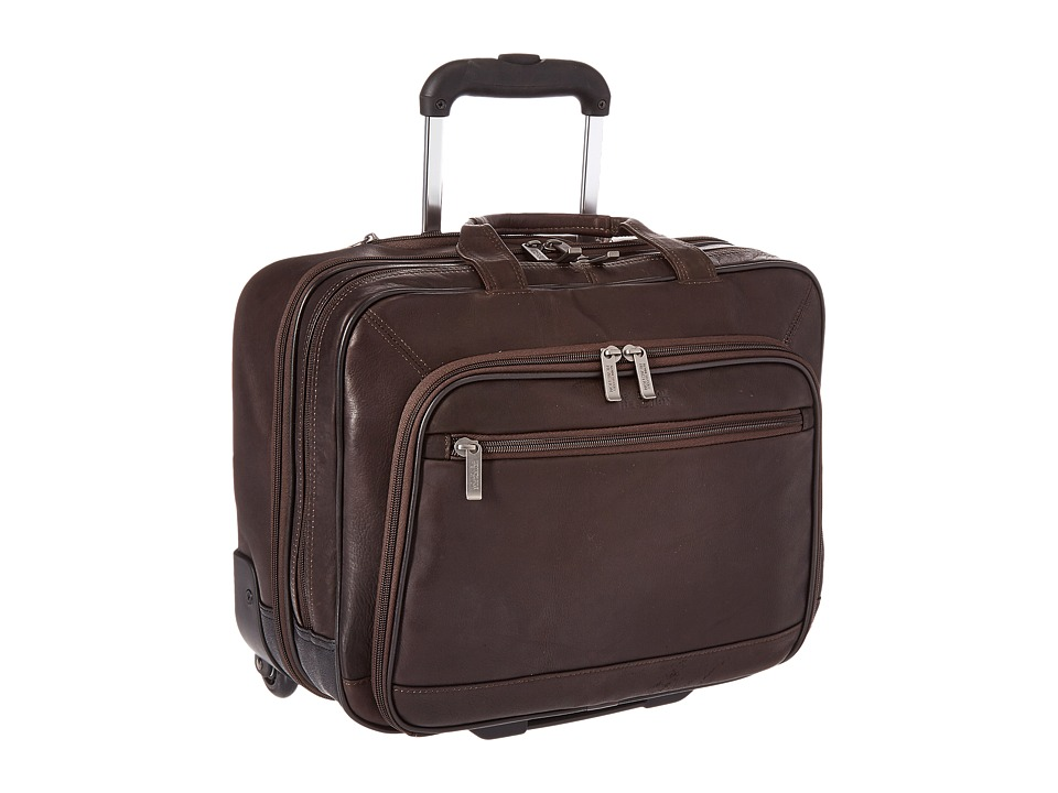 Kenneth Cole Reaction - Wheel Be Okay - Wheeled Leather Porfolio (Brown) Computer Bags