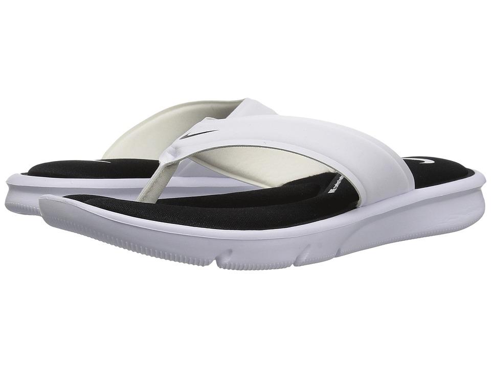 Nike Ultra Comfort Thong (White/White/Black) Women's Sandals