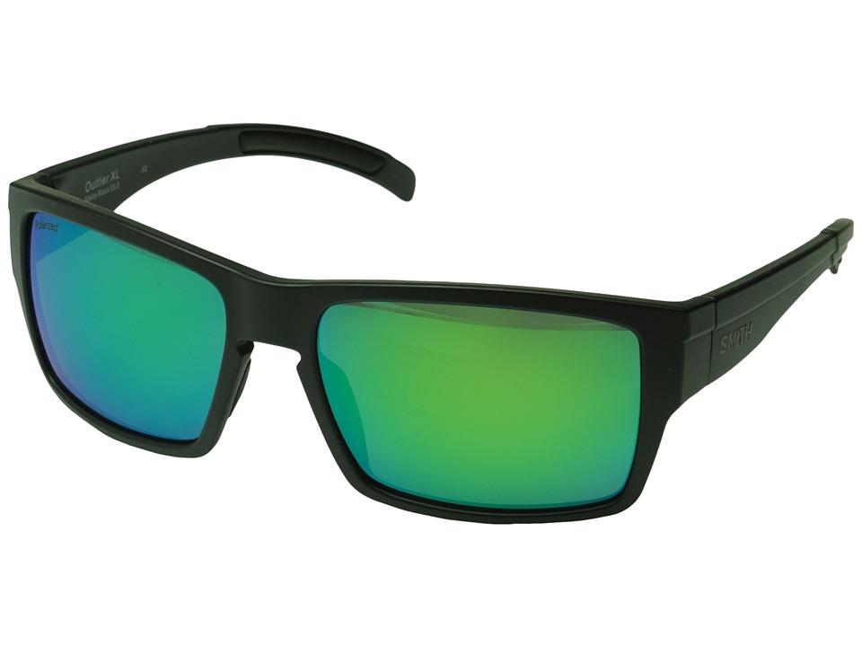 Smith Optics Outlier XL Matte Black/Polarized Green Sol X Mirror Fashion Sunglasses