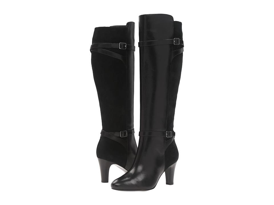 LAUREN Ralph Lauren Sabeen (Black Burn Calf/Sport Suede) Women's Slip-on Dress Shoes