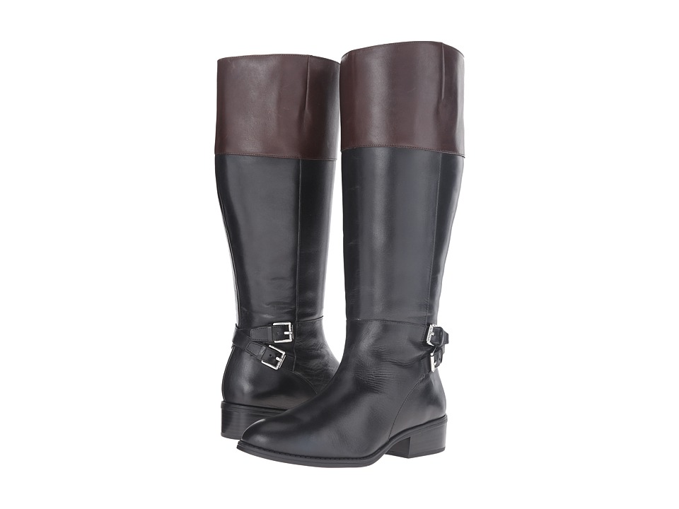 LAUREN Ralph Lauren Marba Wide Calf (Black/Dark Brown Burnished Calf) Women