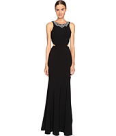 Marchesa Notte - Crepe Gown with Cut Out Detail and Beaded Neckline