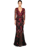 Marchesa Notte - Threadwork Embroidered Gown with 3/4 Sleeves