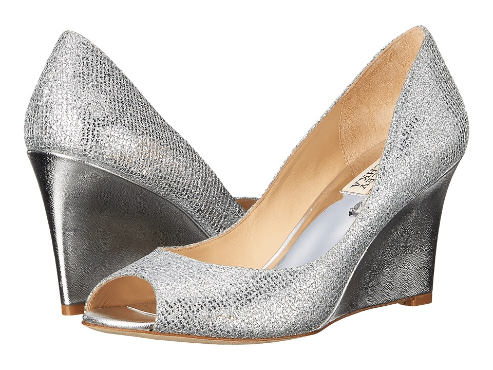 Badgley Mischka Awake Silver Glitter Womens Wedge Shoes