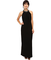 Tahari by ASL - Crepe Jewelled Halter Neck Gown