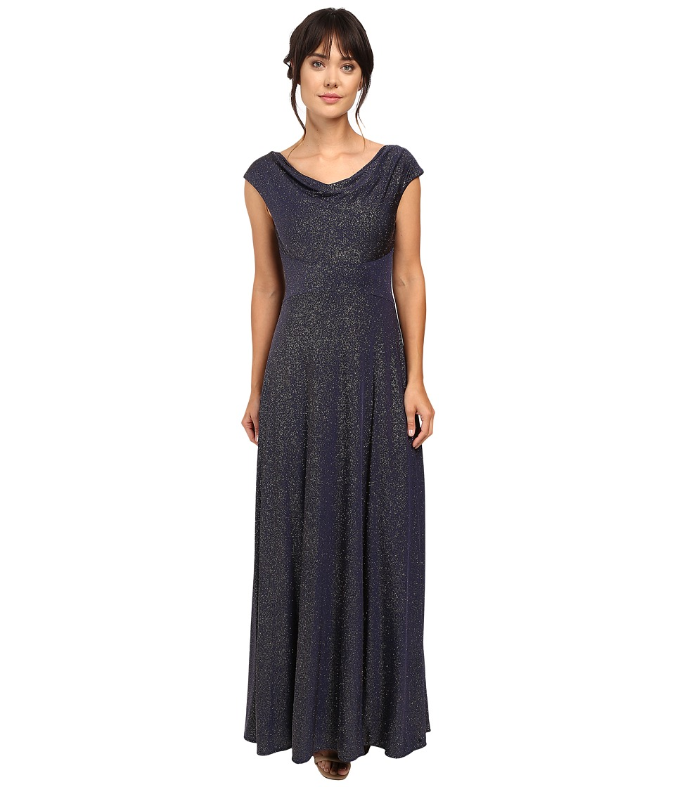 Tahari by ASL Glitter Jersey Cowl Neck Gown (Navy/Gold) Women