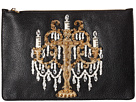Candleabra Embellished Zip Clutch
