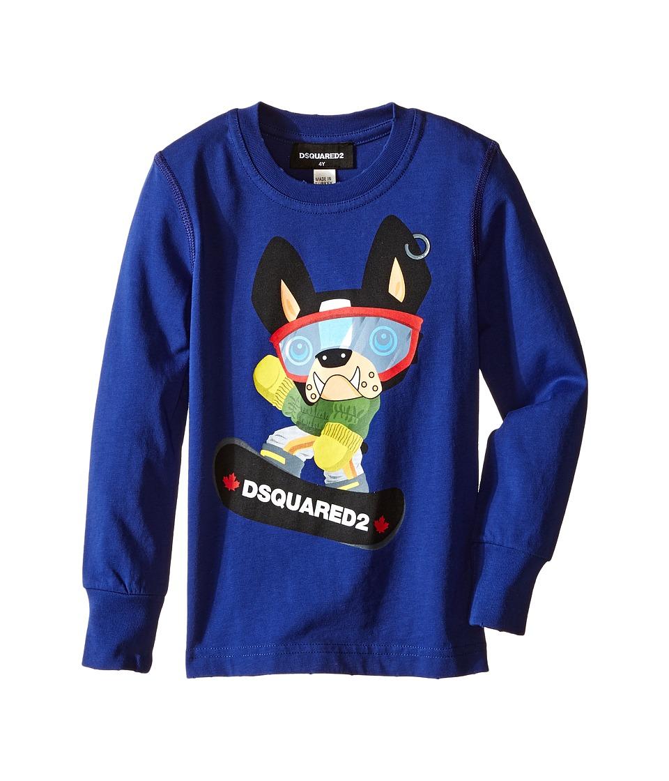 Dsquared2 Kids Long Sleeve Skateboard Dog Graphic T-Shirt (Little Kids/Big Kids) (Blue) Boy