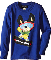 Dsquared2 Kids - Long Sleeve Skateboard Dog Graphic T-Shirt (Little Kids/Big Kids)