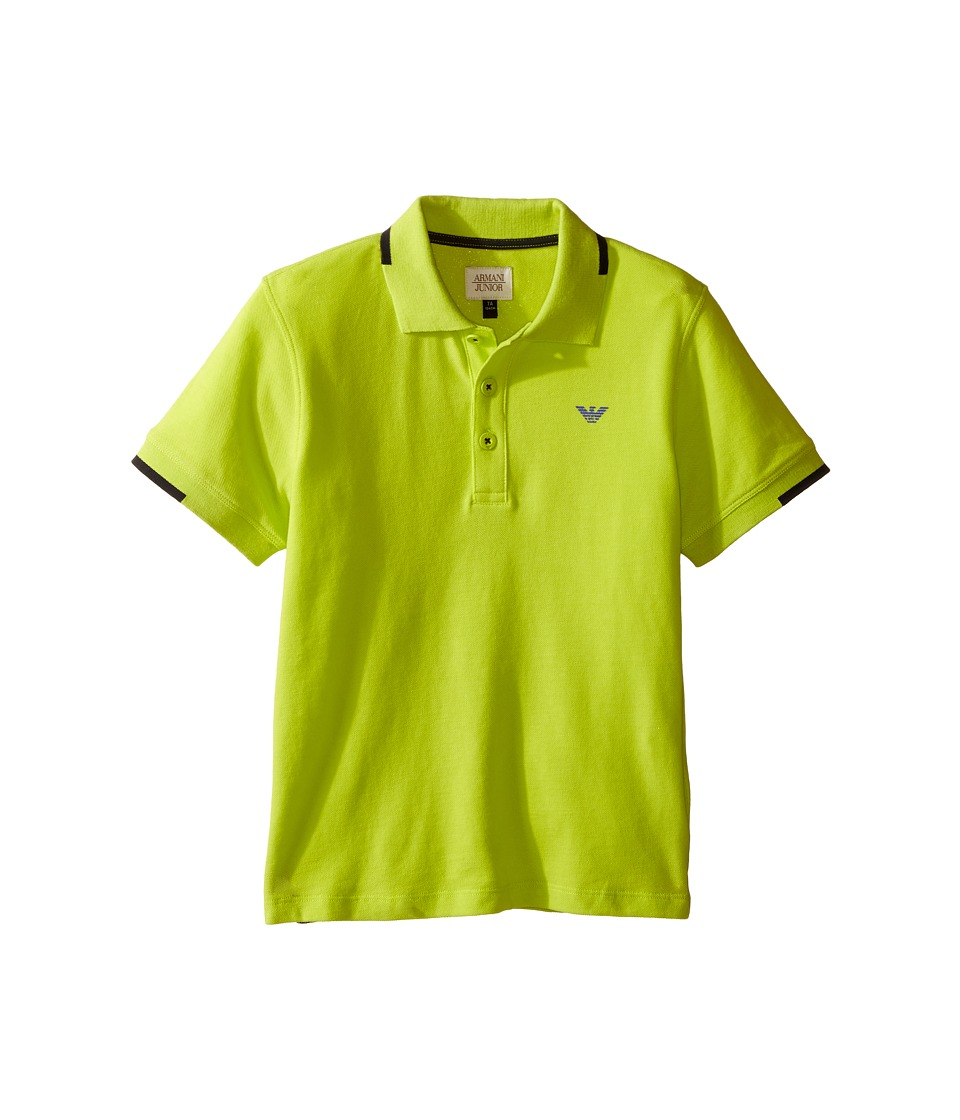 Image of Armani Junior - Classic Polo (Toddler/Little Kids/Big Kids) (Lime) Boy's Clothing