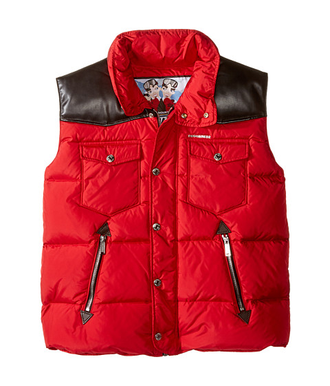 Dsquared2 Kids Puffer Vest with Leather Detail (Big Kids)