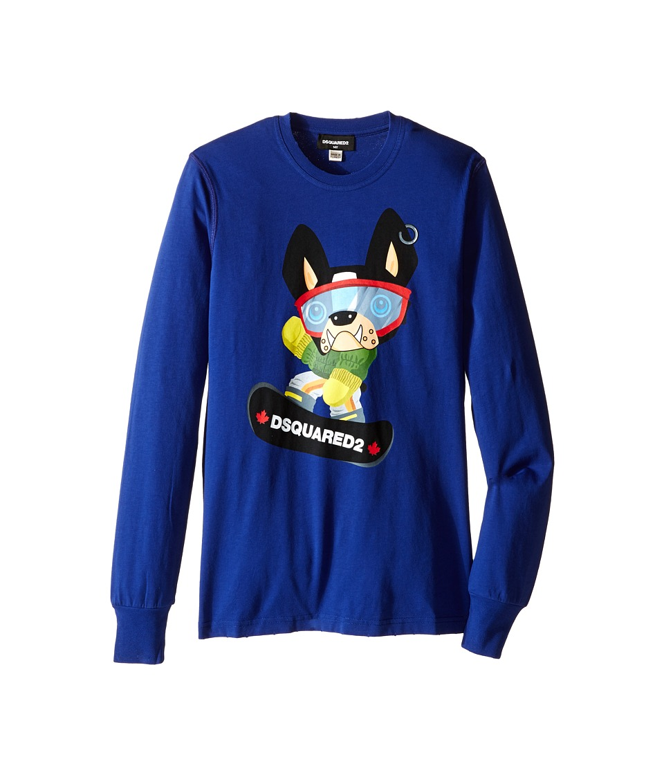 Dsquared2 Kids Long Sleeve Skateboard Dog Graphic T-Shirt (Big Kids) (Blue) Boy
