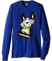 Dsquared2 Kids - Long Sleeve Skateboard Dog Graphic T-Shirt (Big Kids)