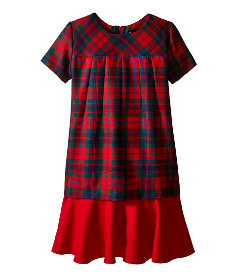 Oscar de la Renta Childrenswear Holiday Plaid Wool Multi Layer Dress (Toddler/Little Kids/Big Kids)