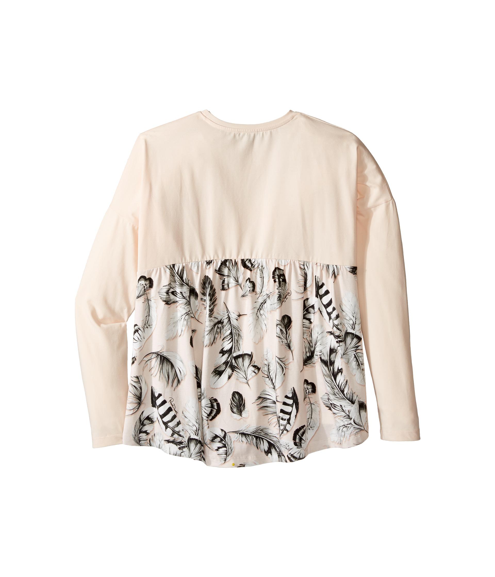Roberto Cavalli Kids Long Sleeve Graphic Shirt W Feather