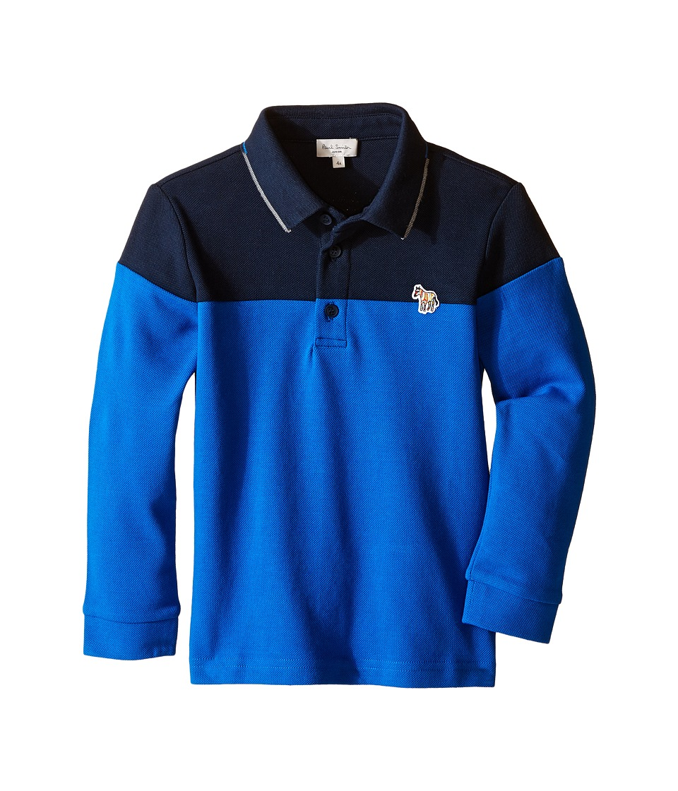 Image of Paul Smith Junior - Bi-Color Long Sleeves Polo (Toddler/Little Kids) (Navy) Boy's Long Sleeve Pullover