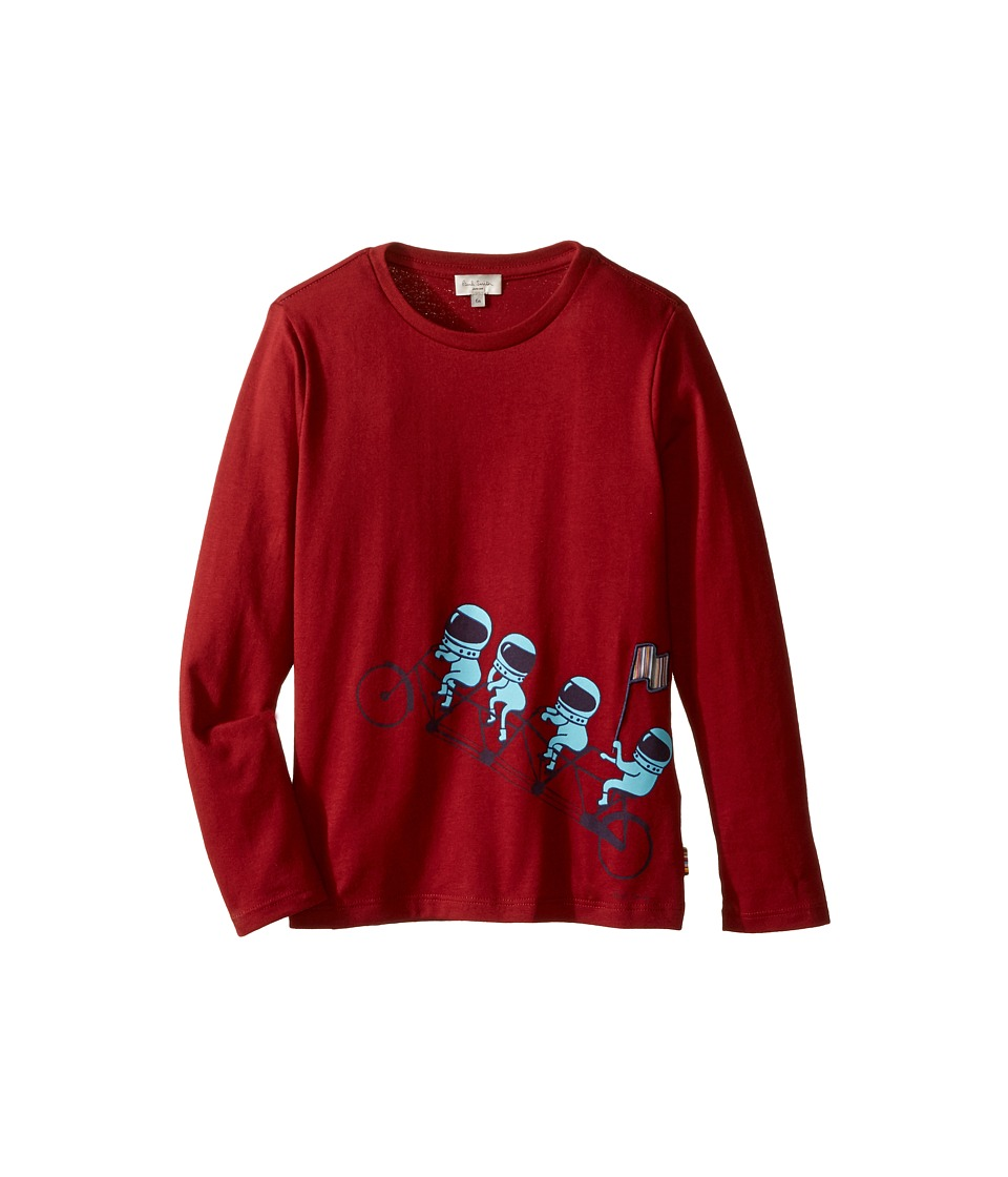 Image of Paul Smith Junior - Astronauts on Bike Printed Tee Shirt (Toddler/Little Kids) (Berry Red) Boy's T Shirt