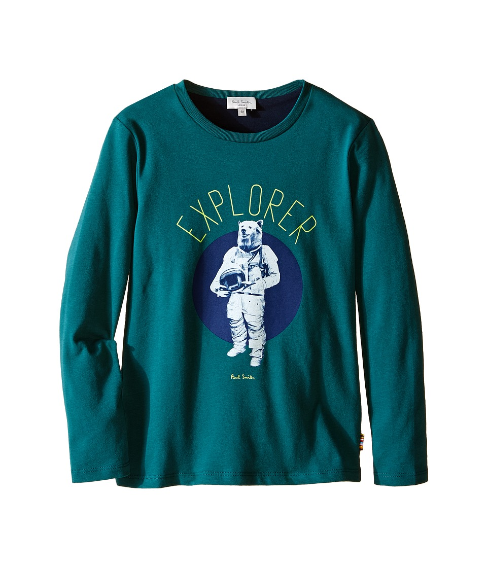 Image of Paul Smith Junior - Bear Astronaut Printed Tee Shirt (Toddler/Little Kids) (Green) Boy's T Shirt