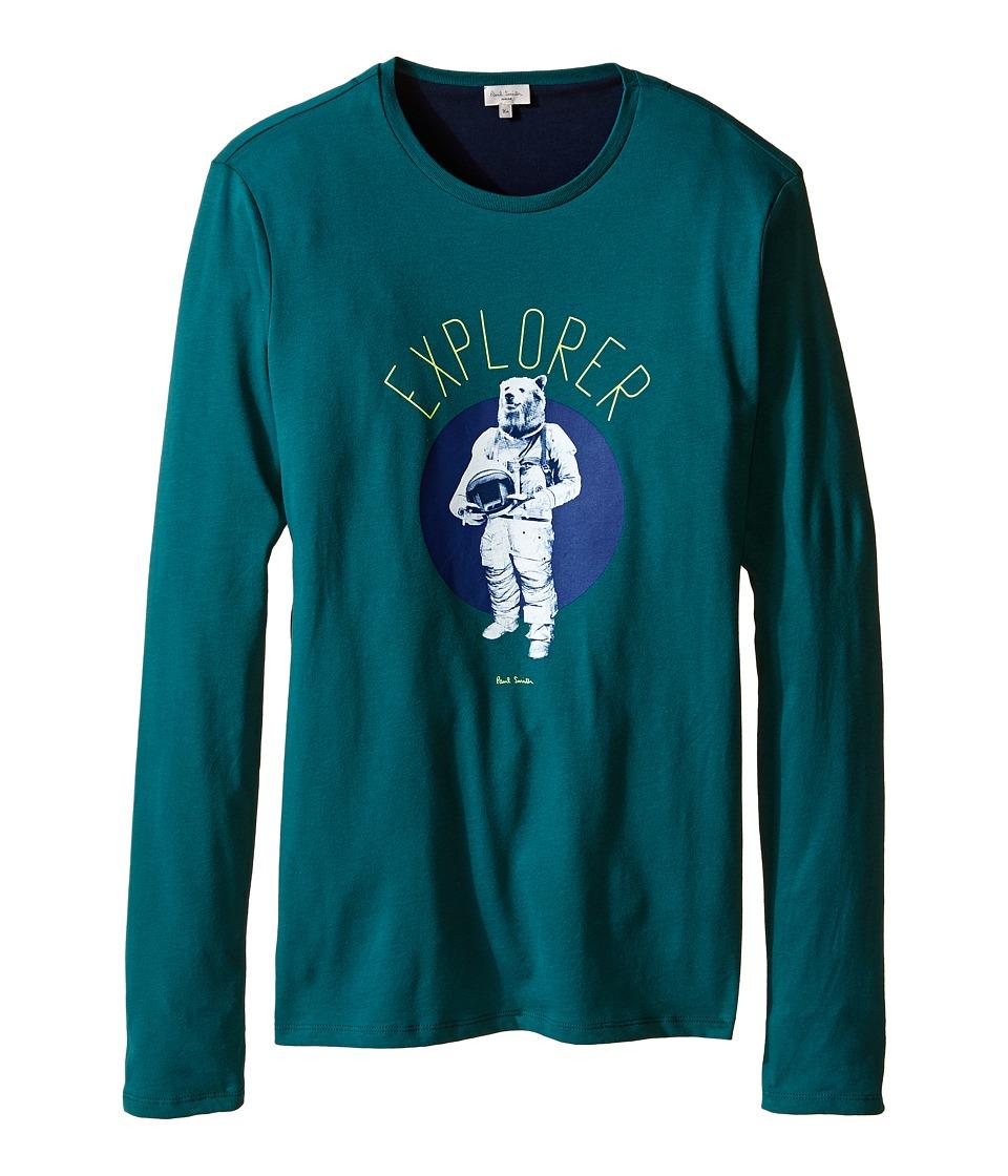 Image of Paul Smith Junior - Bear Astronaut Printed Tee Shirt (Big Kids) (Green) Boy's T Shirt