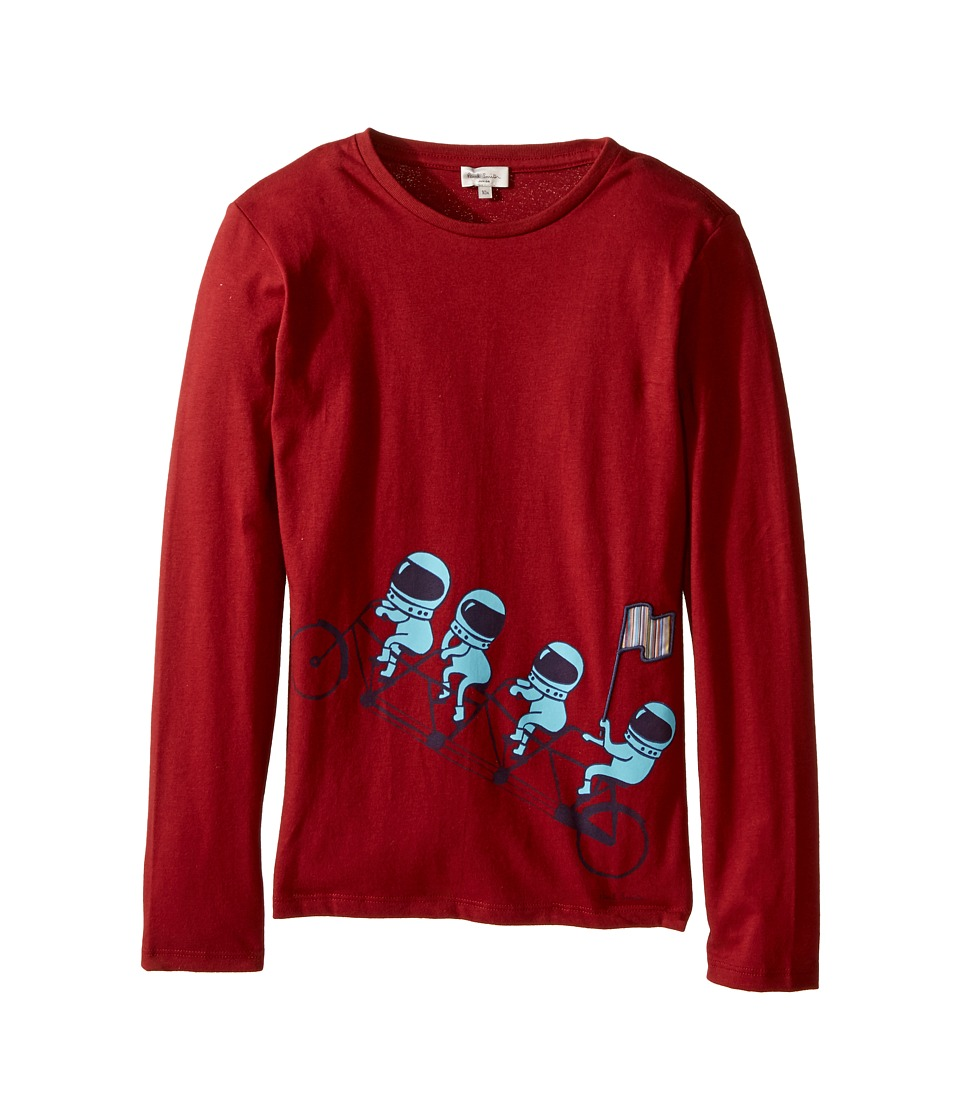 Image of Paul Smith Junior - Astronauts on Bike Printed Tee Shirt (Big Kids) (Berry Red) Boy's T Shirt