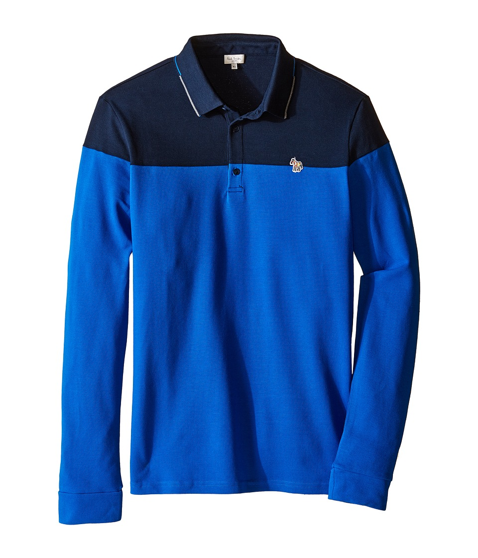 Image of Paul Smith Junior - Bi-Color Long Sleeves Polo (Big Kids) (Navy) Boy's Long Sleeve Pullover