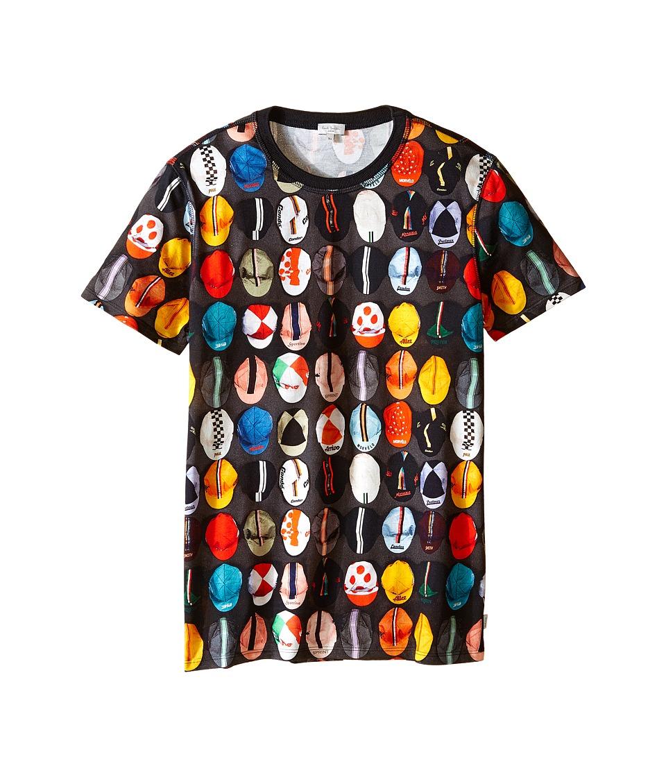 Image of Paul Smith Junior - Caps Printed Short Sleeves Tee Shirt (Big Kids) (Charcoal Grey) Boy's T Shirt