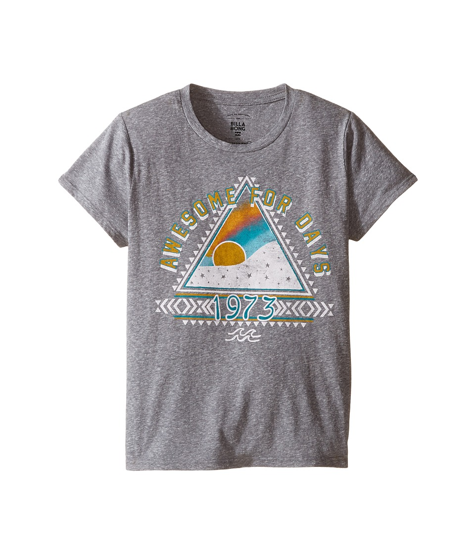 Billabong Kids - Awesome For Days Tee (Little Kids/Big Kids) (Dark Athletic Grey) Girl