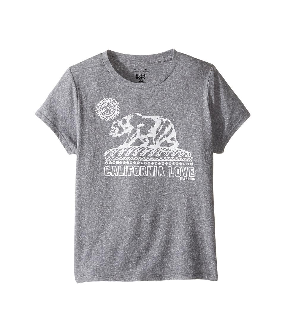 Billabong Kids Cali Bear Love Tee (Little Kids/Big Kids) (Dark Athletic Grey) Girl