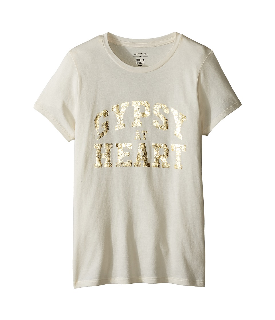 Billabong Kids Gypsy Heart Tee (Little Kids/Big Kids) (White Cap) Girl