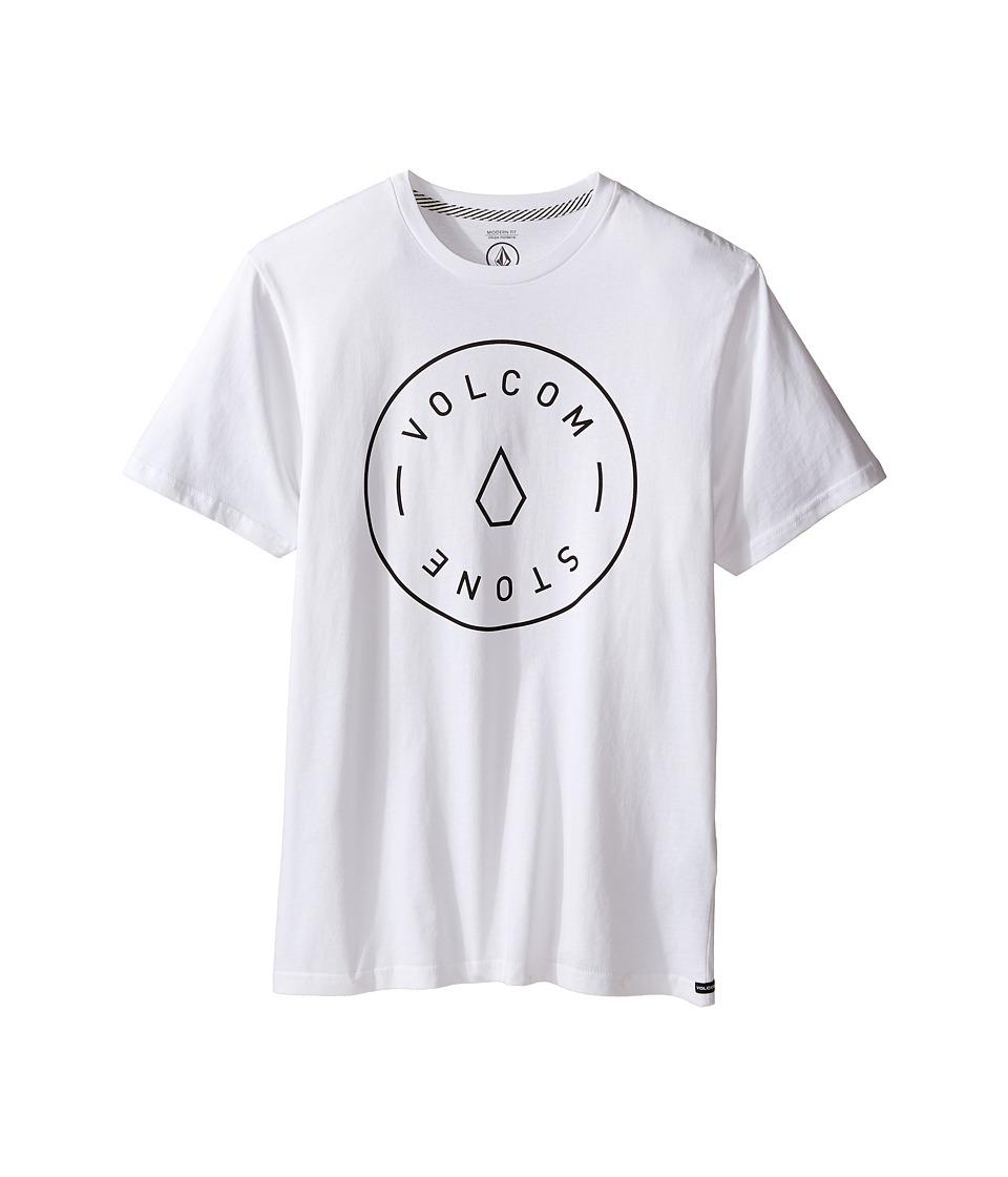 Volcom Kids Simple Short Sleeve Tee (Big Kids) (White) Boy