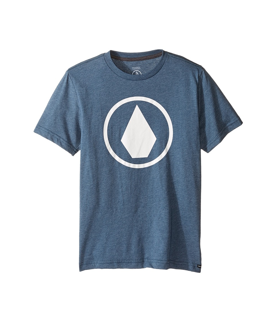 Volcom Kids Solid Stone Short Sleeve Tee (Big Kids) (Air Force Blue) Boy