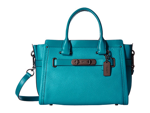 COACH Pebbled Leather Coach Swagger 27 - DK/Turquoise