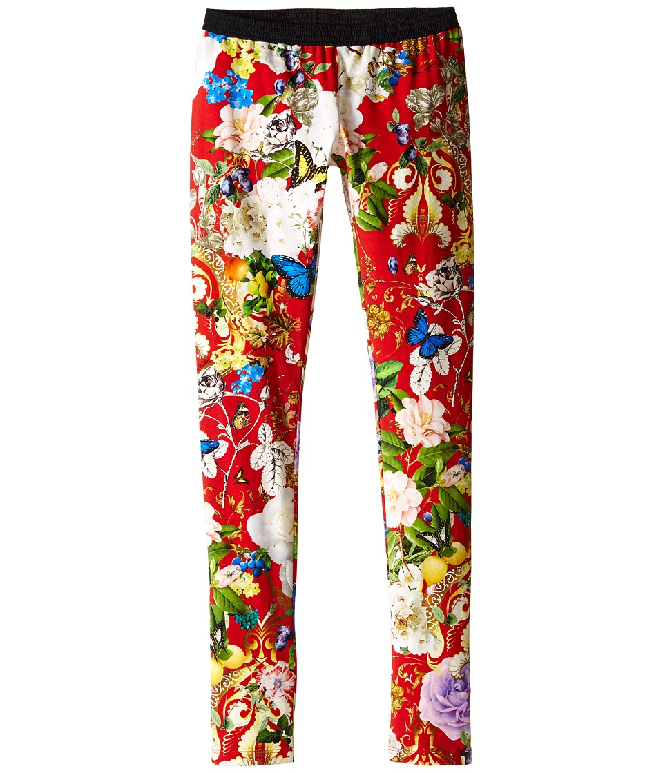 Roberto Cavalli Kids - Floral Print Leggings (Big Kids) (Red/Multi) Girls Casual Pants
