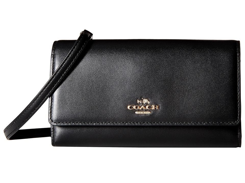 COACH - Smooth Leather Phone Crossbody (LI/Black) Cross Body Handbags