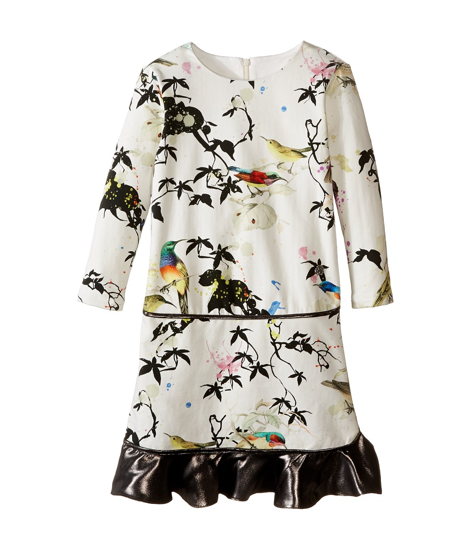 Roberto Cavalli Kids - Bird Print Dress w/ Contrast Ruffle Hem