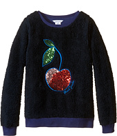 Little Marc Jacobs - Faux Fur with Sequined Cherry Pattern Sweatshirt (Little Kids/Big Kids)
