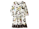 Bird Print Dress w/ Contrast Ruffle Hem (Big Kids)