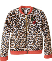Little Marc Jacobs - Resort - Faux Fur Leopard Jacket with Cherry Patch (Little Kids/Big Kids)