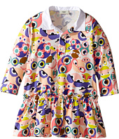 Fendi Kids - Long Sleeve Collar Dress w/ All Over Monster Print (Infant)