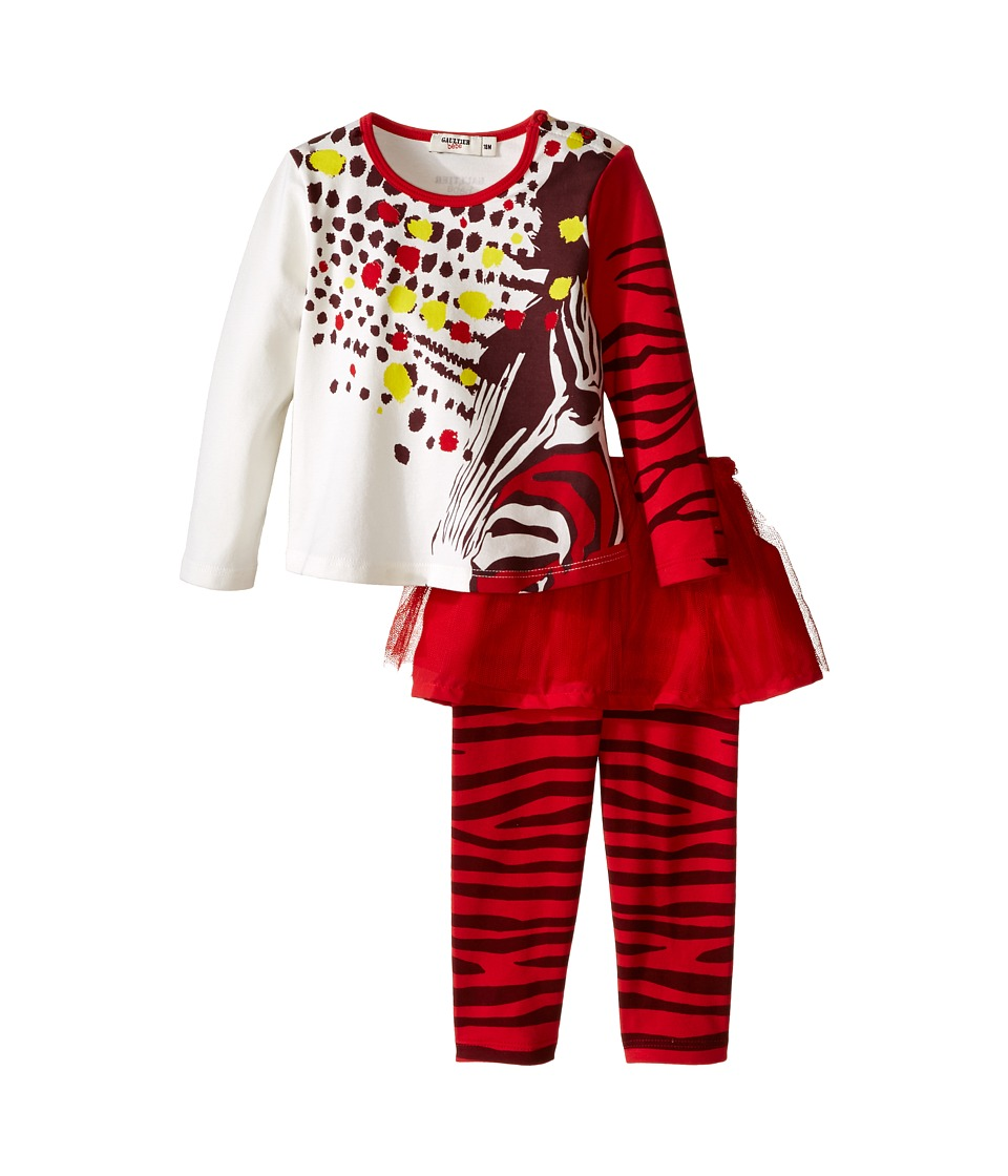 Junior Gaultier - Two-Piece Set with Printed Tee and Leggings with Tulle