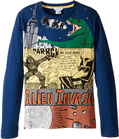 Little Marc Jacobs - Long Sleeve Alien Invasion Illustration Tee Shirt (Big Kids)