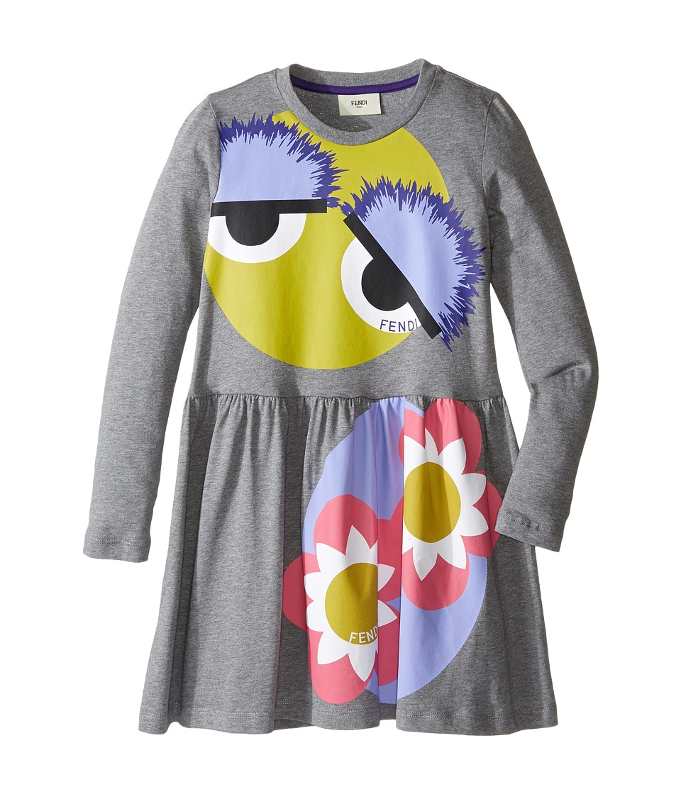 Fendi Kids - Long Sleeve Fit and Flare Dress w/ Monster Eye Graphic