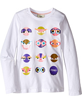 Fendi Kids - Long Sleeve T-Shirt w/ Monster Faces Graphic (Little Kids)