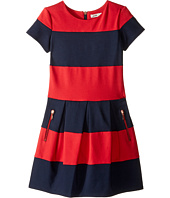Junior Gaultier - Red/Blue Striped Dress Short Sleeves (Big Kids)