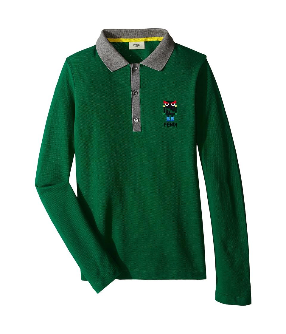 Fendi Kids - Long Sleeve Polo T-Shirt w/ Monster Logo Detail