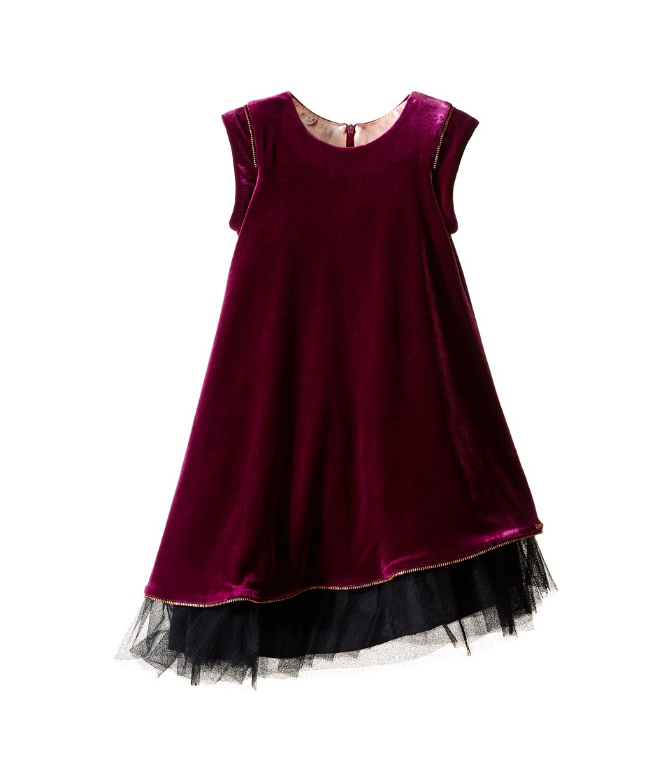 Junior Gaultier - Velours Dress with Black Tulle Detail at Bottom