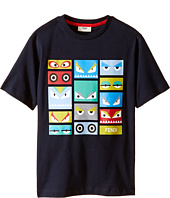 Fendi Kids - Short Sleeve T-Shirt w/ Monster Faces Graphic (Little Kids)